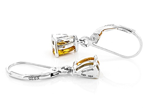 Orange Spessartite Sterling Silver Solitaire Earrings .95ctw