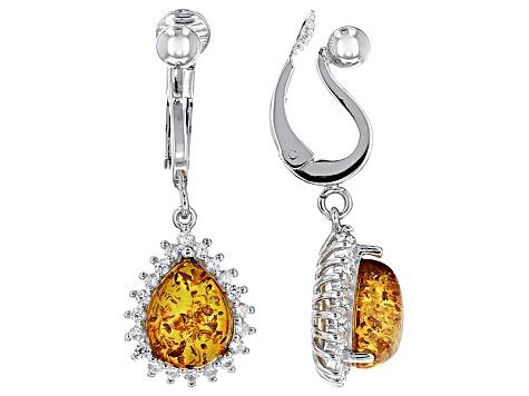 Orange Amber Sterling Silver Clip On Earrings