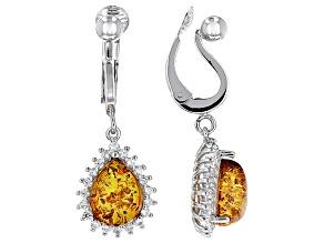 Orange Amber Sterling Silver Clip-On Earrings