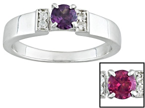 Multicolor, Color Shift Garnet Sterling Silver Ring .44ctw