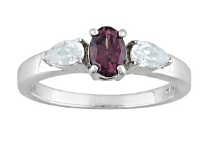 Multicolor, Color Shift Garnet Sterling Silver Ring .95ctw