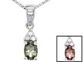 Multi Color, Color Shift Garnet Sterling Silver Pendant With Chain .53ctw