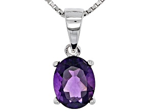 Purple Amethyst Sterling Silver Pendant With Chain 1.40ct.