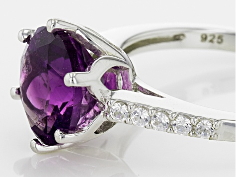 Purple Amethyst Sterling Silver Ring 2.25ctw