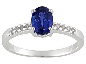 Nepalese Kyanite 1.00ct With .08ctw White Diamond Sterling Silver Ring