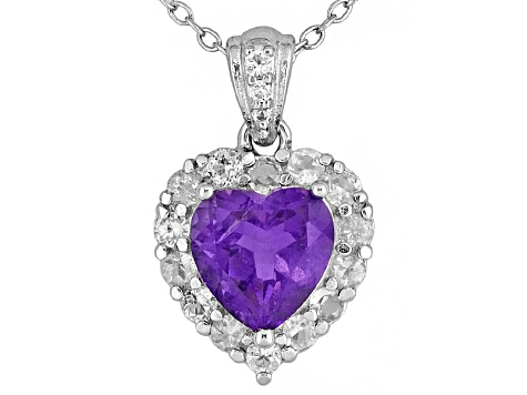 African Amethyst 1.39ct And .46ctw White Topaz Sterling Silver Pendant With Chain