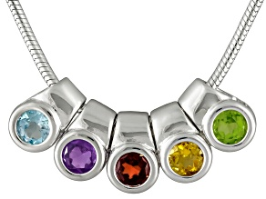 Glacier Topaz™,Amethyst,Citrine,Garnet,Peridot 1.04ctw Removable Charm Sterling Silver Necklace