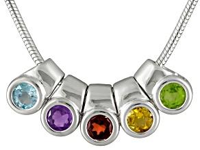 Glacier Topaz™,Amethyst,Citrine,Garnet,Peridot 1.04ctw Removable Charm Sterling Silver Necklace
