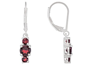 Vermelho Garnet™ 1.54ctw Sterling Silver 3-Stone Earrings