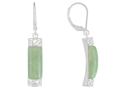 Green Jadeite Sterling Silver Earrings