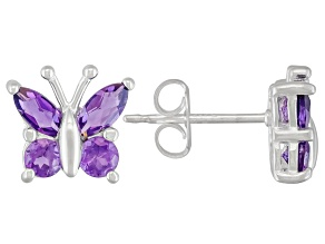 African Amethyst .70ctw Sterling Silver Butterfly Earrings