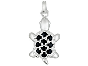 Black Sapphire .40ctw Sterling Silver Turtle Charm