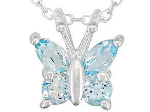 Glacier Topaz ™ .46ctw Sterling Silver Butterfly Pendant With Chain