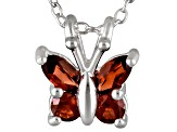 Vermelho Garnet™ .52ctw Sterling Silver Butterfly Pendant With Chain