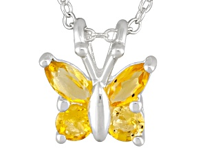 Citrine .35ctw Sterling Silver Butterfly Pendant With Chain
