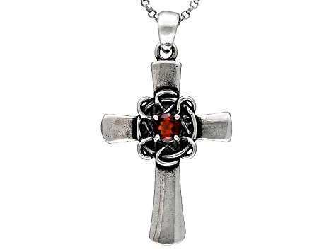 Vermelho Garnet ™ .26ct Sterling Silver Cross Pendant With Chain