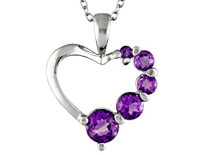 African Amethyst .70ctw Sterling Silver Heart Pendant With Chain