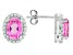 Pink Lab Created Sapphire Solitaire Sterling Silver Earrings 2.95ctw