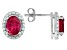 Red Lab Created Ruby Solitaire Sterling Silver Earrings 3.48ctw