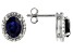 Blue Lab Created Sapphire Silver Earrings 2.95ctw