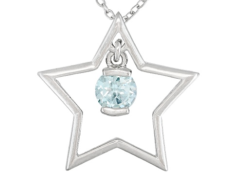 Glacier Topaz ™ .46ct Sterling Silver Star Pendant With Chain