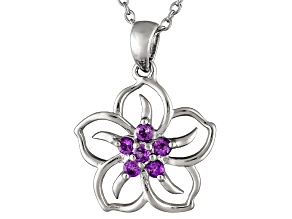 African Amethyst .14ctw Sterling Silver Flower Pendant With Chain