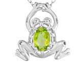 Manchurian Peridot ™ .68ct Sterling Silver Frog Pendant With Chain
