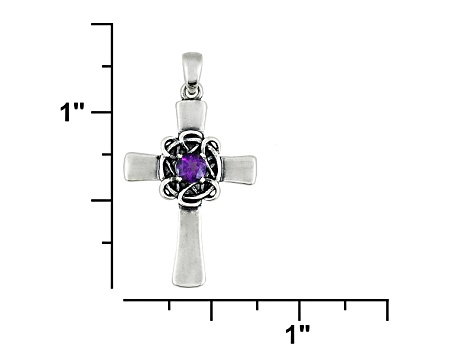 African Amethyst .17ct Sterling Silver Cross Pendant With Chain