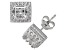 Synthetic White Sapphire Sterling Silver Crown Stud Earrings 2.48 Ctw