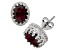 Garnet Sterling Silver Crown Stud Earrings 2.42 Ctw
