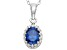 Lab Created Sapphire Sterling Silver Crown Pendant 1.21ctw