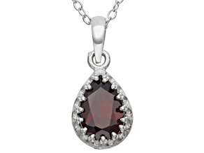 Garnet Sterling Silver Crown Pendant 1.33ctw