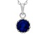 Synthetic Sapphire Sterling Silver Crown Pendant .84ctw