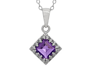 Amethyst Sterling Silver Crown Pendant 1.24ctw