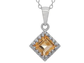Citrine Sterling Silver Crown Pendant 1.24ctw