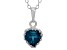 London Blue Topaz Sterling Silver Crown Pendant .74ctw