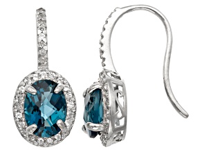 London Blue Topaz And Synthetic White Sapphire Sterling Silver Earrings