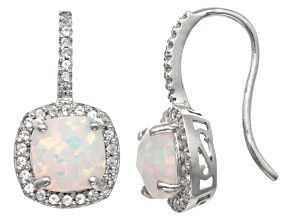 Synthetic Opal And Synthetic White Sapphire Sterling Silver Earrings