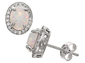 Synthetic Opal And Synthetic White Sapphire Sterling Silver Stud Earrings