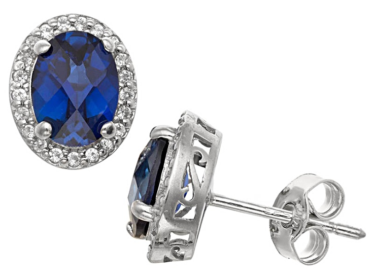 Synthetic Blue And White Sapphire Sterling Silver Stud Earrings 2 66ctw
