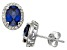 Synthetic Blue And White Sapphire Sterling Silver Stud Earrings 2.66ctw