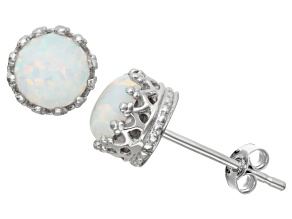 Synthetic Opal Sterling Silver Crown Stud Earrings 1.68ctw