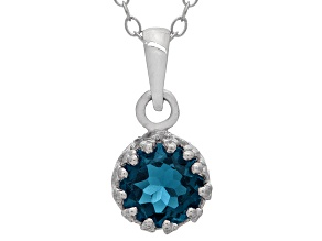 London Blue Topaz Sterling Silver Crown Pendant .84ctw