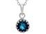 London Blue Topaz Sterling Silver Crown Pendant .84ctw