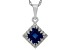 Synthetic Sapphire Sterling Silver Crown Pendant 1.24ctw