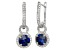 Synthetic Blue And White Sapphire Sterling Silver Earrings 3.13ctw