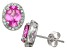 Synthetic Pink And White Sapphire Sterling Silver Stud Earrings 2.66ctw