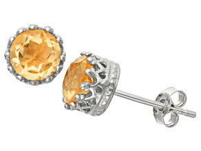 Citrine Sterling Silver Crown Stud Earrings 1.68ctw