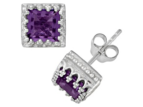 Amethyst Sterling Silver Crown Stud Earrings 2.48ctw