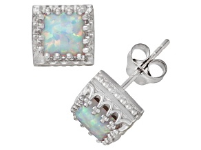 Synthetic Opal Sterling Silver Crown Stud Earrings 2.48ctw